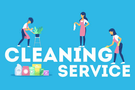 Cleaning service web banner concept. People with mop Foto de archivo - 138192702