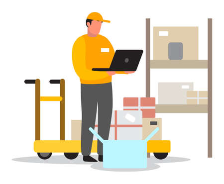 Delivery or warehouse man. Courier in uniform using laptop. Ilustracja