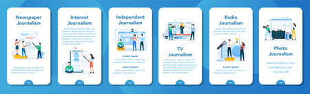 Journalist mobile application banner set. TV reporter with microphone.