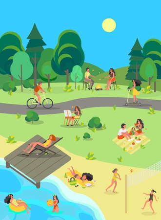 People in the public park. Having fun, doing sport Illustration