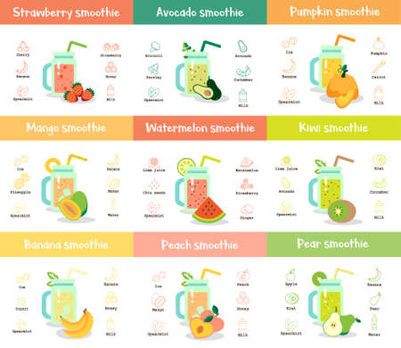 Smoothie recipe set. Collection of tasty healthy drink in glass. Ilustrace