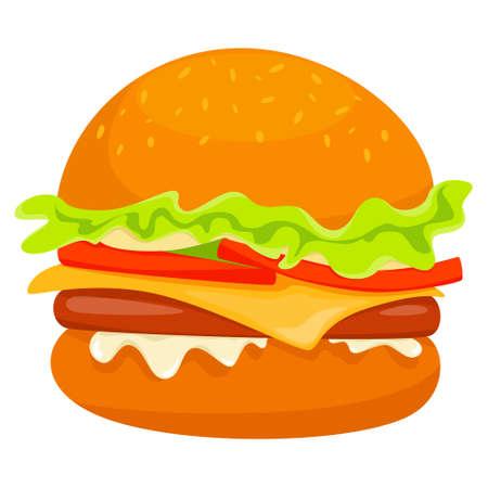 Big tasty hamburger with cheese, tomato and beef