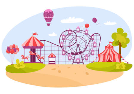 Horizontal banner of amusement park with circus tent. Great attractions such as carousel with horses, ferris wheel, roller coaster and ice-cream truck. Vector illustration in cartoon style Illusztráció