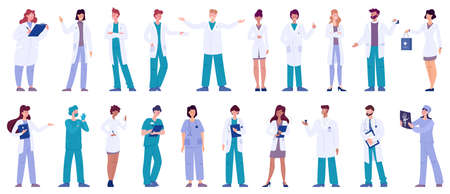 Set of doctor and nurse characters with various poses, face emotions and gestures. Medicine workers talking with patients. Isolated vector illustration in cartoon style Ilustracje wektorowe