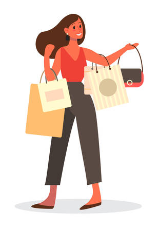 Woman shopping. Person with clothes. Big sale and discount concept.