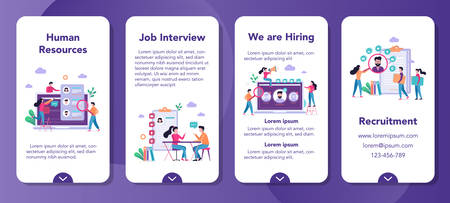 Recruitment mobile application banner set. Idea of employment and human resources. Find candidate for a job. Vacant place, job interview. Vector illustration in cartoon style