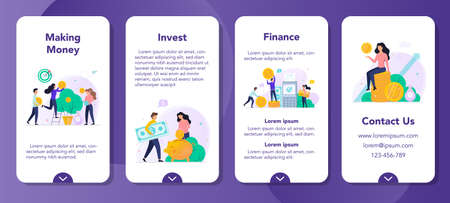 Investment mobile application banner set. Making money concept. Idea of investing and finance growth. Money tree with currency on it, savings and banking. Vector illustration in cartoon style Ilustrace