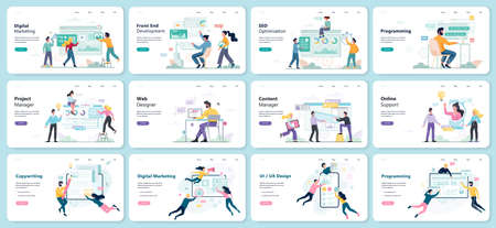 Modern web business service set. Web development and business support. Managment and marketing. Programming and ui, ux design. Seo and copywriting. Wevsite skyscraper. Isolated vector illustration