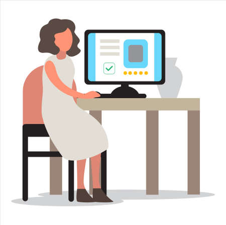 Woman in smart casual sitting at the desk and working on the computer. Professional office worker at the workplace. Vector illustration in cartoon style