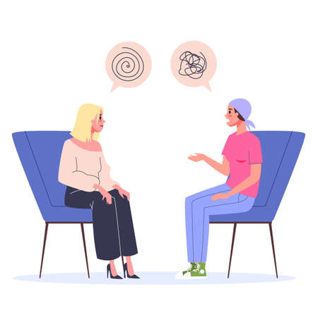 Cancer rehabilitation concept. Woman talking to psychologist Vector Illustration