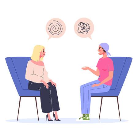 Concepto de rehabilitación del cáncer. Mujer hablando con psicólogo Logos
