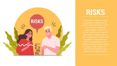Start up steps. Business risks web banner. Two businessperson