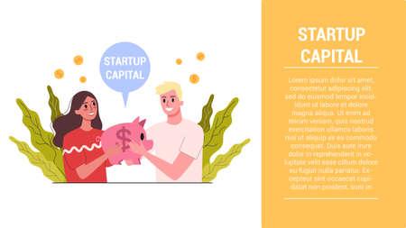 Start up steps. Start up capital web banner. Idea of business investment