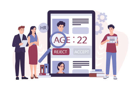 Recruitment ageism concept. HR specialist reject an old man cv.