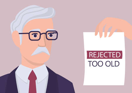 Recruitment ageism concept. HR specialist reject an old man cv. Unfairness and employment problem of seniors. Human resources department dont hire people aged 50. Isolated vector illustration