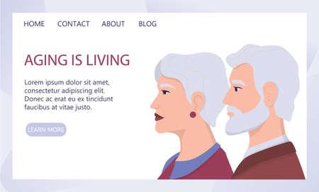 Profiles of senior people. Ageism concept. Unfairness