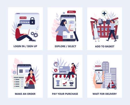 How to buy goods online instruction. Infographics for online shopping. Vektorové ilustrace