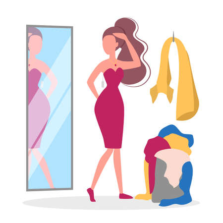 Woman choosing clothes in the clothing store. Big sale and discount