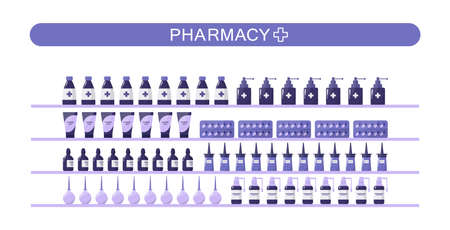 Modern pharmacy shelves with medicaments and drugs.