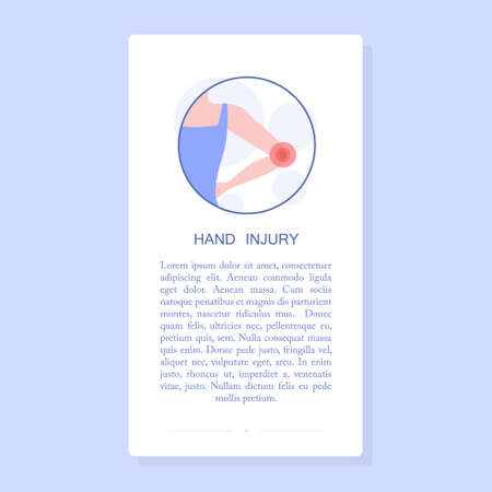 Elbow injury. Woman having a painful damage, trauma. Vector illustration of body injury. Mobile application banner