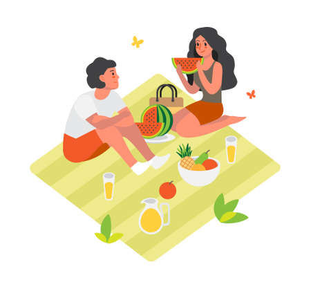 Couple spend time outdoor on picnic. Summer camping. Illustration