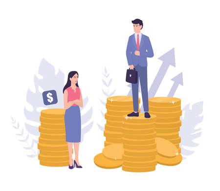 Business-Sexismus-Konzept. Gender Gap und ungleiche Bezahlung. Vektorgrafik