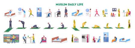 Rutina diaria de una mujer y un hombre musulmanes.
