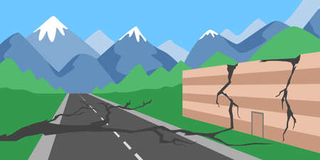 Natural disaster concept. The earthquake destroyed house and road. Illustration