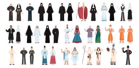 Conjunto de personas de religión con uniforme específico. figura religiosa
