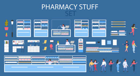 Modern pharmacy interior stuff with shelves and visitors set.