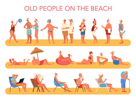 Happy and active seniors spending time on the beach. Retired people on their summer vacation. Woman and man on retirement. Vector illustration in cartoon style
