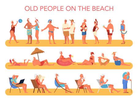 Personas mayores felices y activas que pasan tiempo en la playa. Personas jubiladas en sus vacaciones de verano. Mujer y hombre jubilado. Ilustración vectorial en estilo de dibujos animados Ilustración de vector