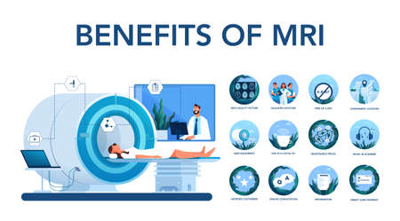 Magnetic resonance imaging benefit. Medical research and diagnosis. 向量圖像