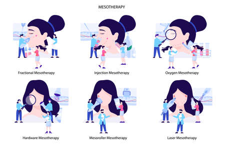 Mesotherapy type set. Rejuvenating treatment for skin. Modern lifting procedure. Fractional and injection. Oxygen and hardware, Mesoroller and laser mesotherapy. Flat vector illustration
