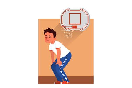 School boy schedule concept. Little children at school. Happy children in gym class. Student doing sport. Vector illustration in cartoon style