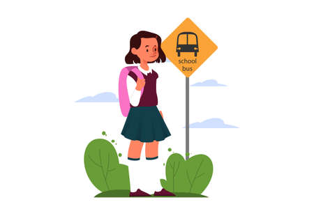 School girl schedule concept. Little girl going to school. Young female character waiting for school bus. Isolated vector illustration in cartoon style