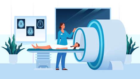 Magnetresonanztomographie im Krankenhaus. Medizinische Forschung und Diagnose. Moderner tomographischer Scanner. Patient im MRT. Isolierte Vektorillustration im Cartoon-Stil