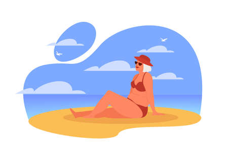 Happy and active senior spending time on the beach. Retired woman on her summer vacation. Old lady in a swimsuit. Vector illustration in cartoon style Ilustração