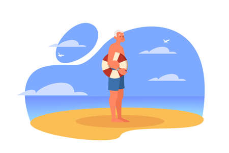 Happy and active senior spending time on the beach. Retired man on their summer vacation. Old man in a swimsuit. Vector illustration in cartoon style