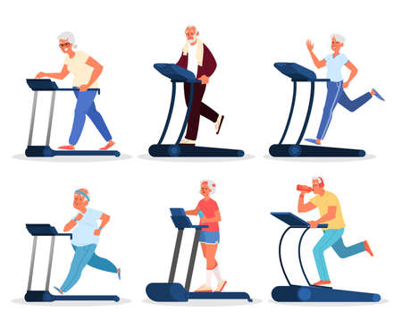 Old peoplein the gym. Seniors training on treadill. Fitness program for elderly people. Healthy lifestyle concept. Isolated vector illustration in cartoon style