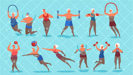 Set of old people doing exercise in swimming pool. Elderly character have an active lifestyle. Senior in water. Isolated flat illustration Vettoriali