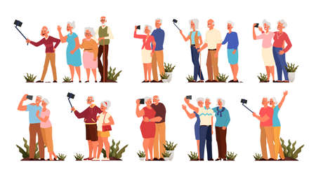 Old people taking selfie together set. Elderly characters taking photo of themselves. Old people lifestyle concept. Seniors having an active social life. Isolated vector illustration in cartoon style