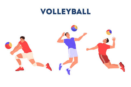 Volleyball player jumping and hitting a ball. Volleyball player training. Athlete set. Championship tournament, team sport concept. Isolated vector illustration in cartoon style 일러스트