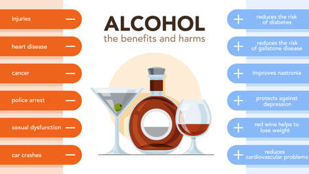 Alcohol drinks pros and cons infographic. Drinking alcohol effect and consequence. Vector illustration