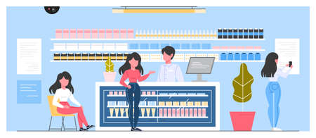 Modern pharmacy interior with visitors. Client order and buy