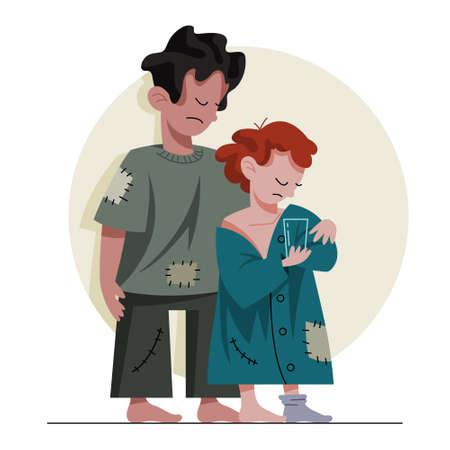 Zwei arme Kinder. Traurige Kinder in schmutziger und unscheinbarer Kleidung, die um Hilfe bitten. Obdachlose Menschen. Vektorillustration im Cartoon-Stil