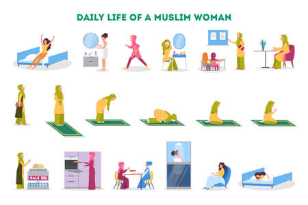Conjunto de rutina diaria de una mujer musulmana. Personaje femenino