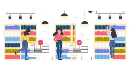 Intérieur de la salle de la librairie. Les gens choisissent et achètent de la littérature. Étagères avec des livres. Illustration vectorielle plane.