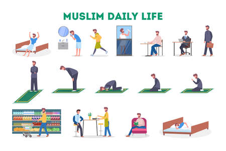 Daily routine of a muslim man set. Male character