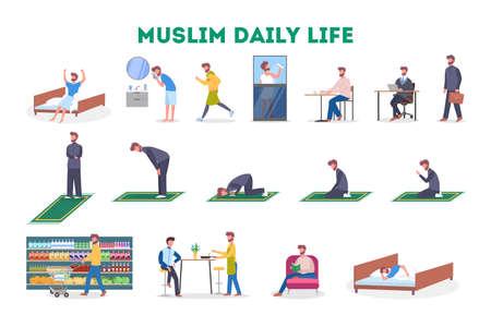 Routine quotidienne d'un ensemble d'hommes musulmans. Caractère masculin